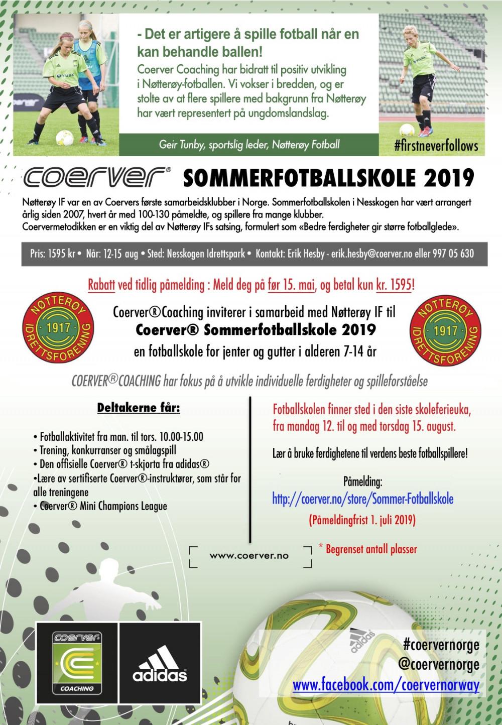 Coerver Sommerfotballskole hos Nøtterøy IF - uke 33