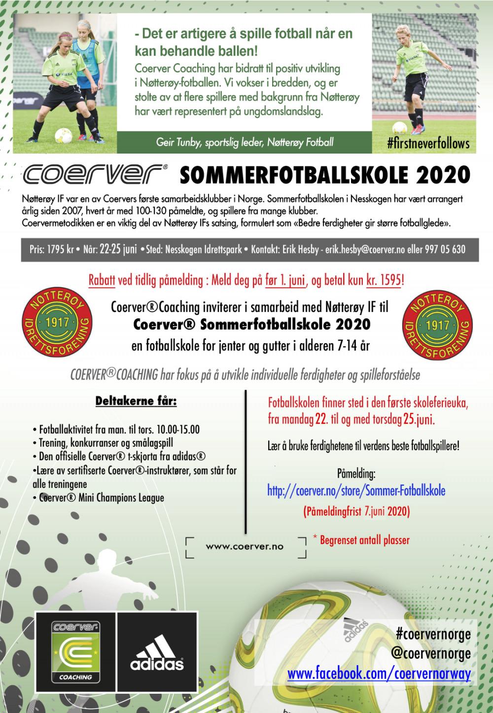Coerver Sommerfotballskole hos Nøtterøy IF - uke 26
