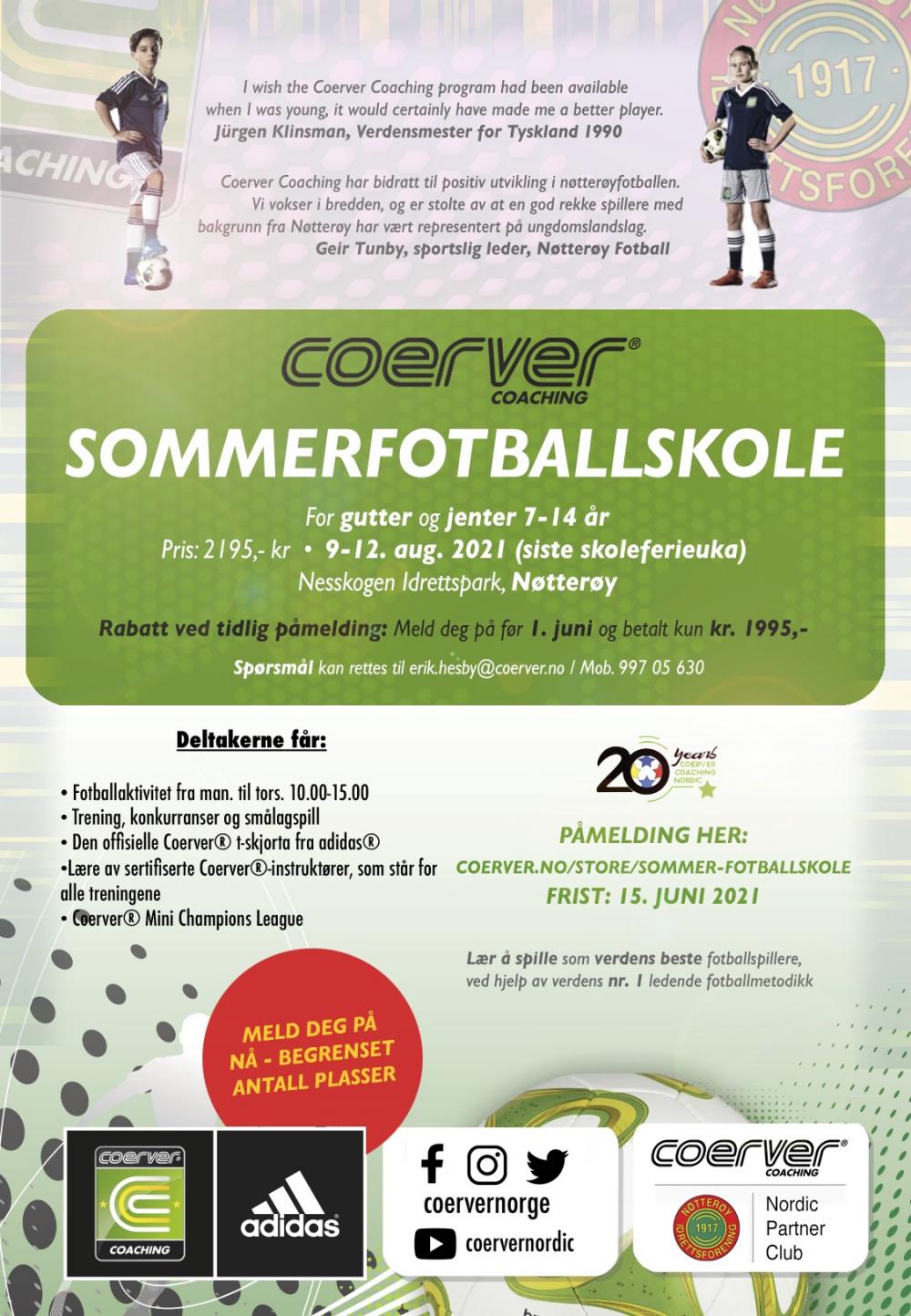 Coerver Sommerfotballskole hos Nøtterøy IF 2021 (uke 32)