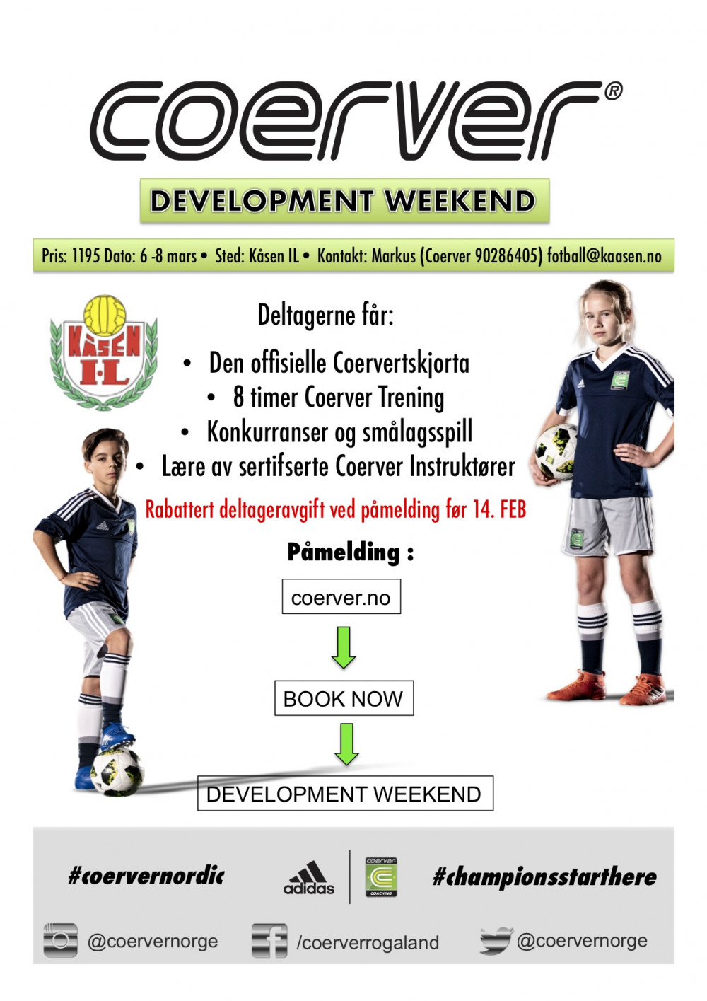 Coerver Development Weekend hos Kåsen IL 6-8 mars