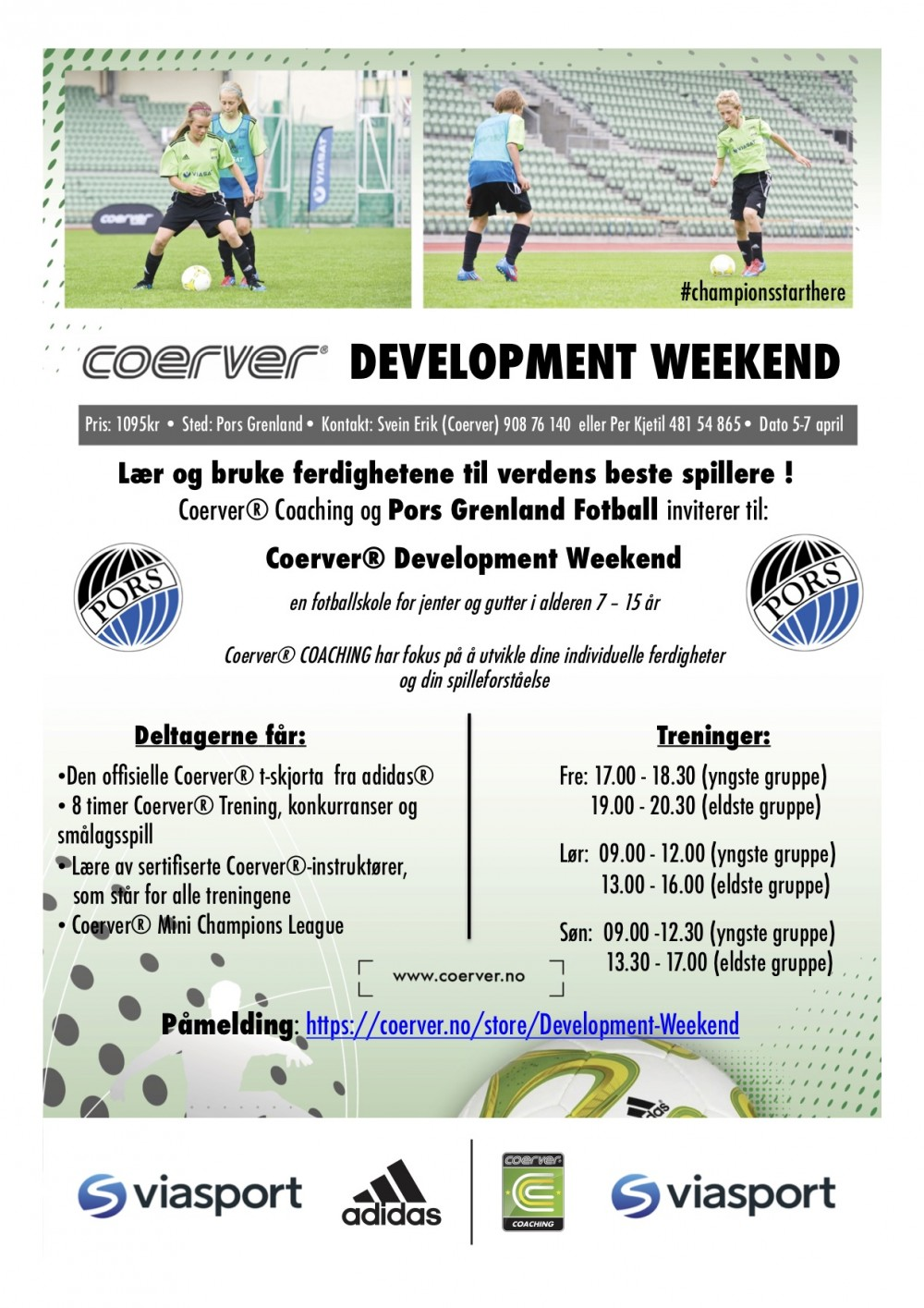 Coerver Development Weekend hos Pors Grenland Fotball 5-7 april