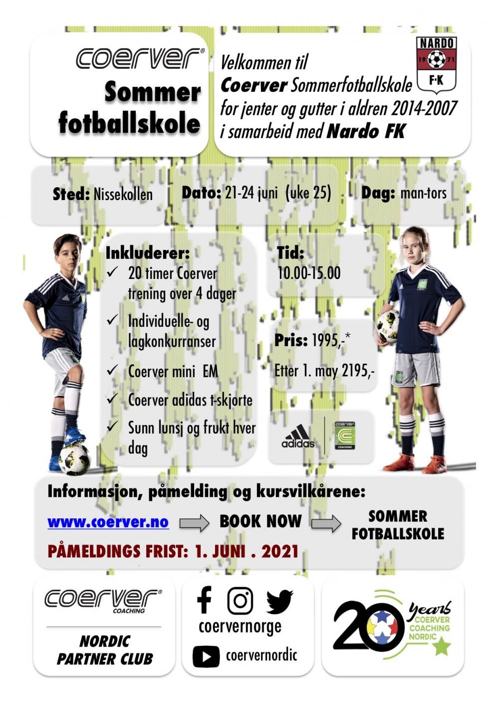Coerver Sommerfotballskole hos Nardo FK  2021 (uke 25)