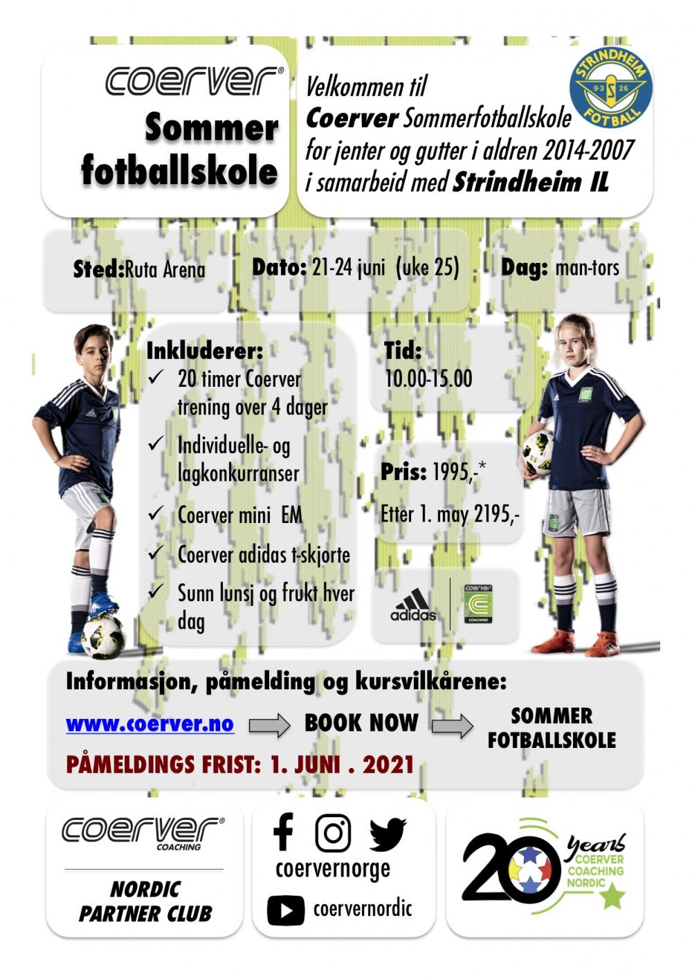 Coerver Sommerfotballskole hos Strindheim IL 2021 (uke 25)