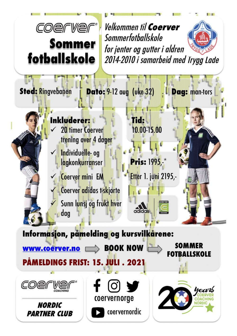 Coerver Sommerfotballskole hos Trygg Lade 2021 (UKE 32) 2010-2014
