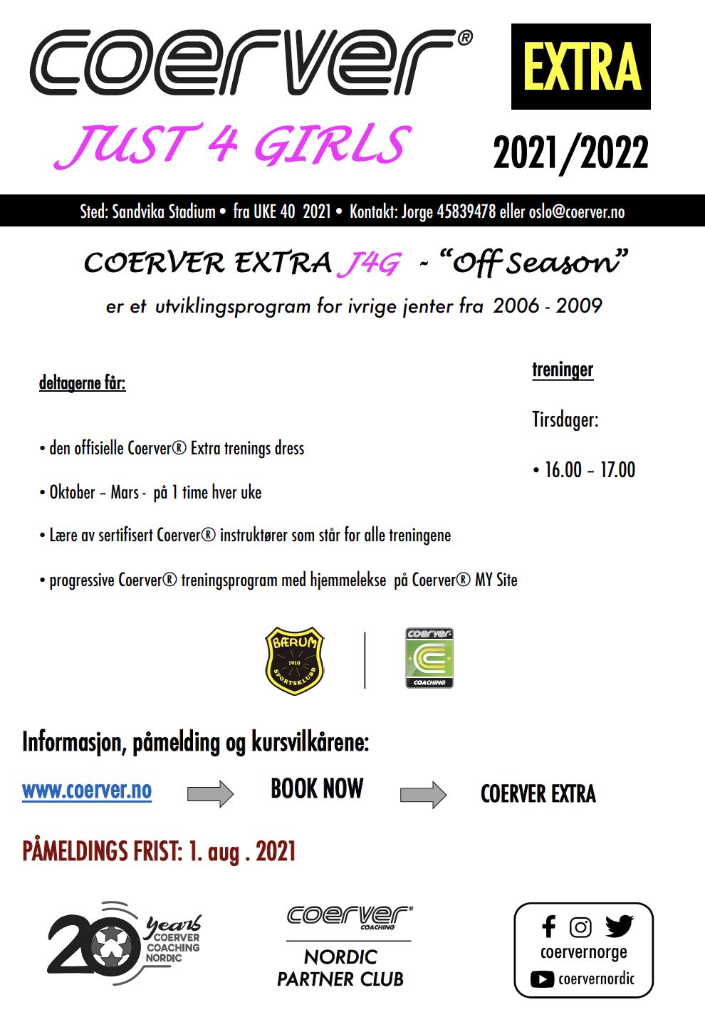 Coerver Extra Bærum SK Just4Girls (Off Season)