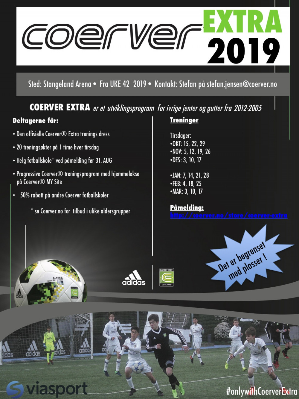 Coerver Extra på Stangeland Arena (Stavanger) 2019/20