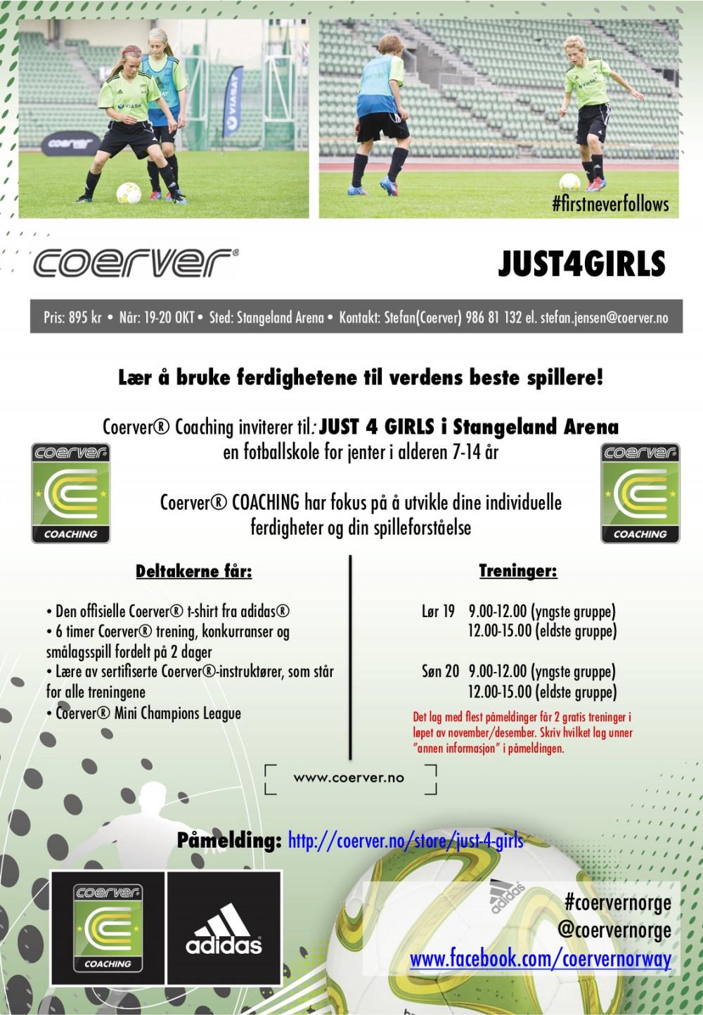 Coerver Just 4 Girls i Stangeland Arena 19-20 OKT