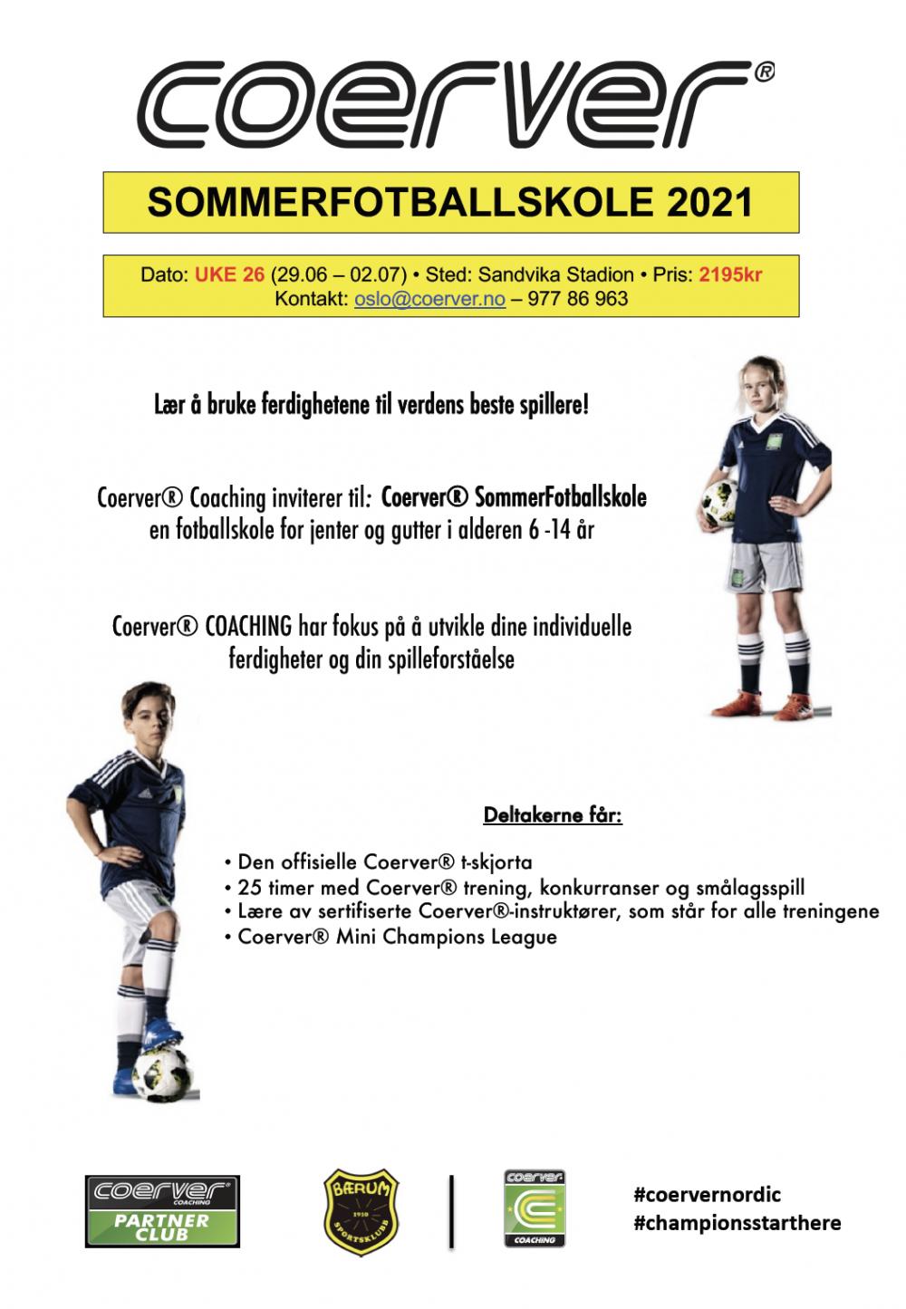 Coerver Sommerfotballskole hos Bærum SK 2021 Uke 26
