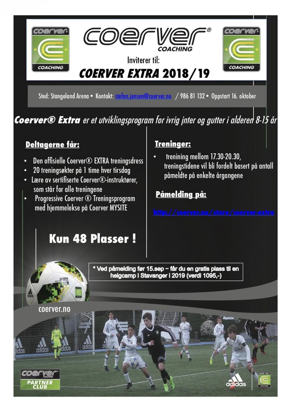Coerver Extra på Stangeland Arena (Stavanger) 2018/19